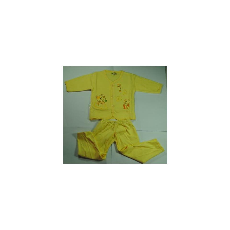 CL0062 Soft Cotton Bear Unisex Baby Boys Girls Cartoon Pattern Pajamas Set (Blue)