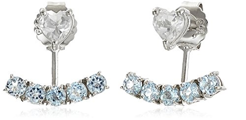 Sterling Silver with Genuine Blue and White Topaz Earring Jackets