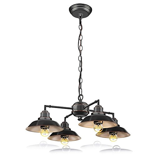 SereneLife Home Lighting Fixture - Metal Accent Classic Vintage Style Chandelier Pendant Hanging Ceiling Light with 4 Single Bulb Rustic Traditional Lamp Shade, US Standard Screw-in Sockets (SLLMP414) Chandeliers Light Brackets