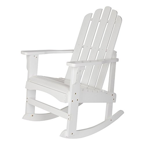 Shine Company Marina Porch Rocker, White (Porch Teak Rocker)