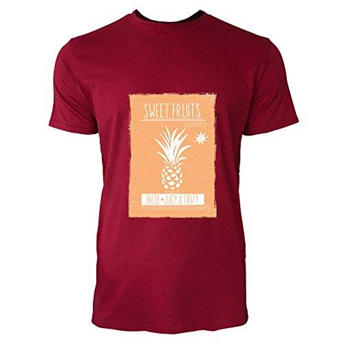 SINUS ART® Ananas Print mit orangem Hintergrund Herren T-Shirts in Independence Rot Fun Shirt mit tollen Aufdruck