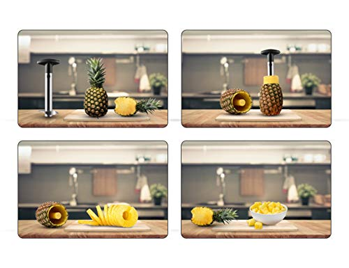 Pineapple Corer Rafemi Stainless Steel Pineapple Slicer Pineapple Cutter Peeler Pineapple Core Remover Tool for Kitchen Utensils