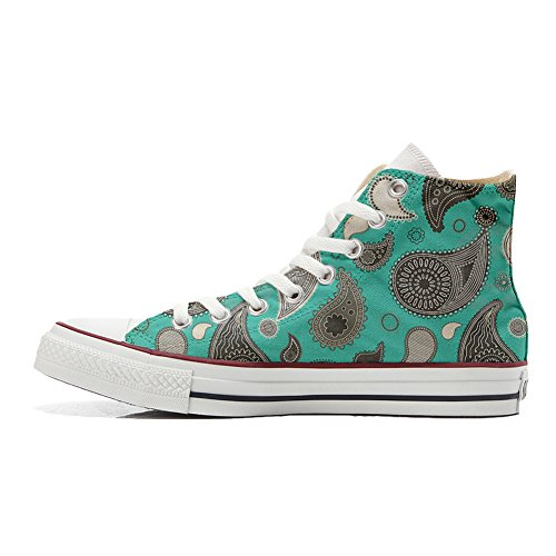 Mys Turquoise Chaussures Converse Unisex Paisley Artisanal Customized produit Coutume rBrq1Ozx