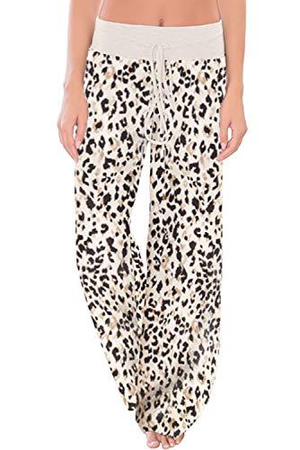WFTBDREAM Lounge Pants Women Leopard Print Wide Leg Pjs Bottoms XL