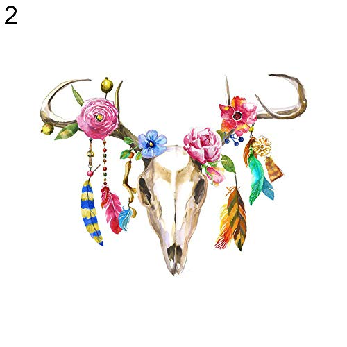 bjlongyi Vintage Art Painting on Wall,Catcher Deer Head Skull Feather Style Frameless Painting Home Decor 2# ()
