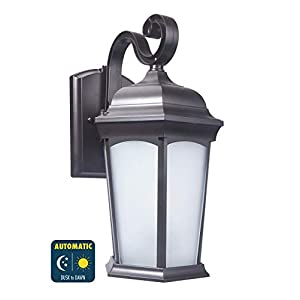 CORAMDEO Outdoor LED Traditional Hex Style Wall Sconce Lantern for Porches, Wet Location, Built in LED Gives 120W of Light from 12.5W of Power, Bronze Finish with Frosted White Glass Lens