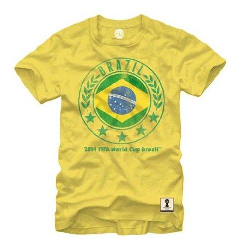 FIFA 2014 World Cup Soccer - Brazil Circle Flag - T-Shirt (XX-Large)