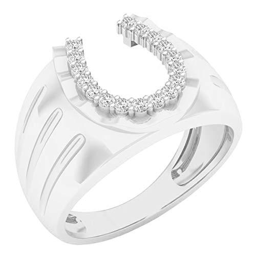 0.25 Carat (ctw) 14K Round White Diamond Men's Fashion Horseshoe Ring 1/4 CT, White Gold, Size 10