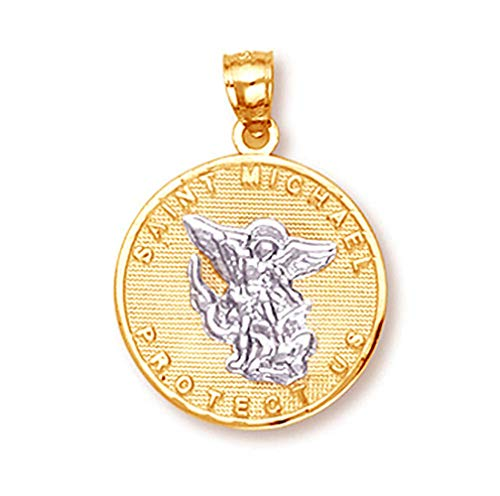 10k Gold Saint Michael Medal Protection Charm Pendant (White-and-yellow-gold)