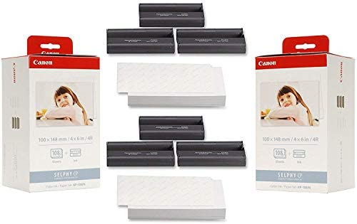 Canon KP-108IN Ink Paper Set (2) Pack - 216 Prints, 3115B001-X2, Cyan, Magenta, Yellow