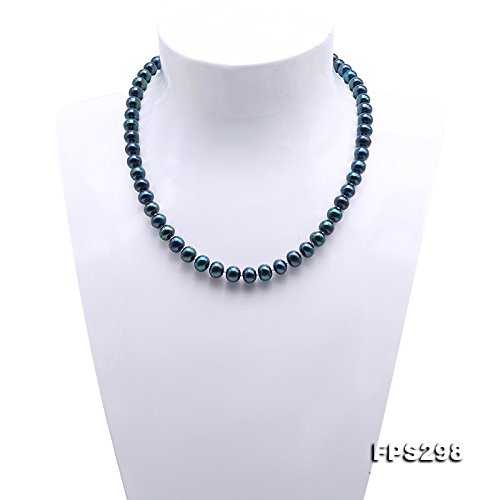 JYX-perle collier Ensemble 8-8.5mm teint-bleu collier de perles de culture deau douce collier et boucles doreilles ensemble de bijoux