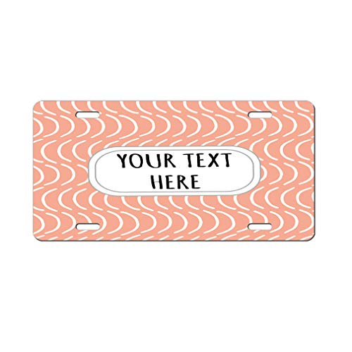 (Aluminum Car License Plate Custom White and Peach Pitter Pattern Style2)