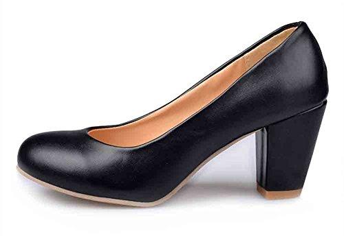 Easemax Mujeres Elegant Round Toe Zapatos De Tacón Bajo Con Bloque Alto, Zapatos Negros