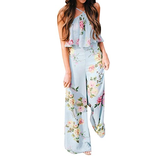 Han Shi Long Wide Leg Trousers, Women Summer Sleeveless Backless Strap Floral Jumpsuit (M, Light Blue)