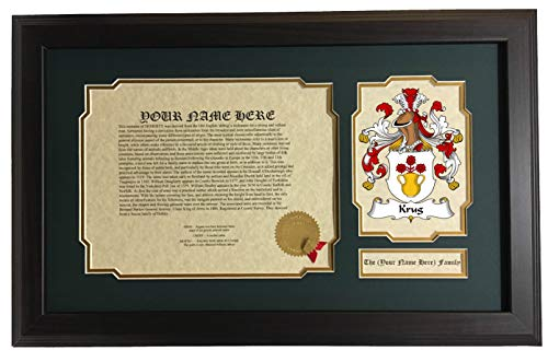 Krug - Coat of Arms and Last Name History, 14x22 Inches Matted and Framed