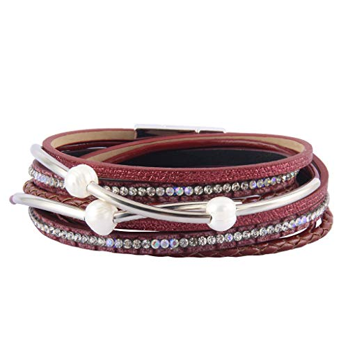Around Wrap Pearl (AZORA Leather Wrap Bracelet for Women Multi Rope Cuff Bracelets with Pearl & Rhinestone Handmade Charm Wristband Gift for Teen Girls Lady (red Bracelet for Women))