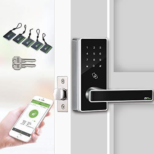 Smart Keyless Door Lock with Bluetooth Digital Keypad Password Door Locks for Office Home+5 pcs RFID Cards (Zinc Alloy).