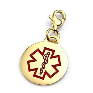StickyJ USA Gold Medical Alert Round Charm