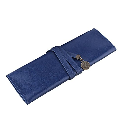 Oksale® Vintage PU Leather Roll Up Pencil Pen Case Stationery School Cosmetic Makeup Pouch Pocket Brush Holder (Makeup In The 80s)