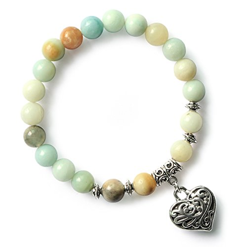 MHZ JEWELS Women's Amazonite Healing Stone 8mm Beads Stretch Bracelet with Heart Charm Gemstone Beaded Bracelet