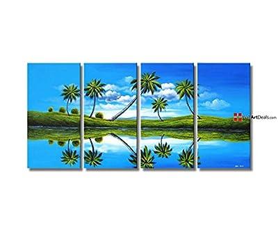 Art Deco Framed Blue Reflection Artwork Wall Art Oil Painting 4 Piece