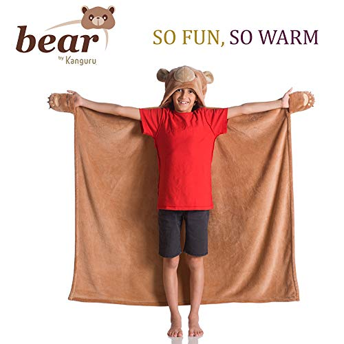 Kanguru Wearable Bear Hooded Blanket Gifts for Boy 5 6 7 8 9 10 Year Old- Fun Christmas and Birthday Gifts for Kids (Brown)