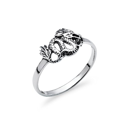 Nine2Five Chinese Dragon Sterling Silver Round Band Ring, Charm Friendship Promise Ring Sizes 9 (Dragon Charm Sterling)