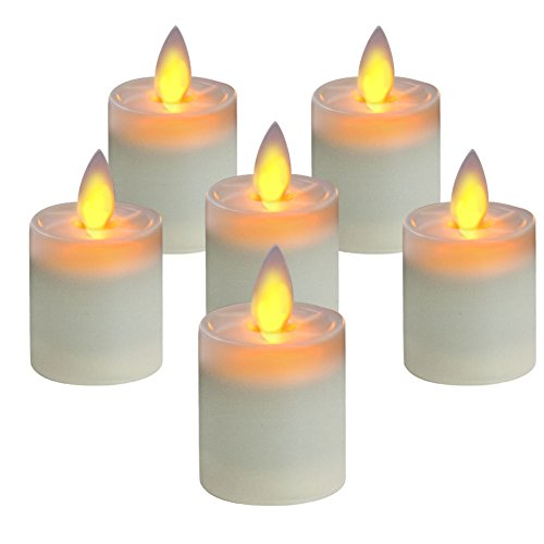 5PLOTS Moving Wick Flameless Tea Lights and Candle Lights 6 Pack - Long Lasting Battery Operated LED(inclued) - Perfect for Wedding, Party, Christmas, Votive, Wall Sculpture, Lanterns
