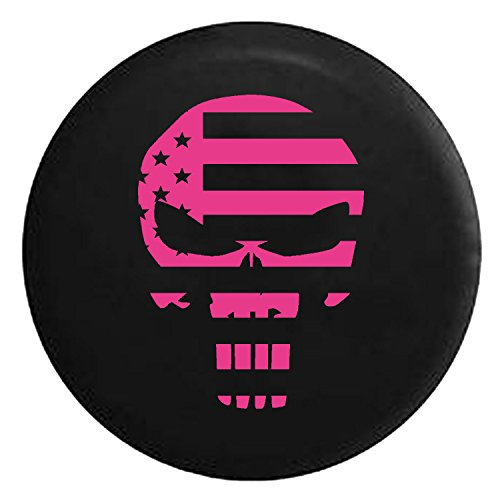 Patriot Punisher Skull Tactical Flag Spare Jeep Wrangler Camper SUV Tire Cover Pink Ink 35 in