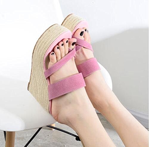 ZPPZZP Ms sandali pantofole spessa estate trascinare all'aperto a tacco alto 39EU rosa