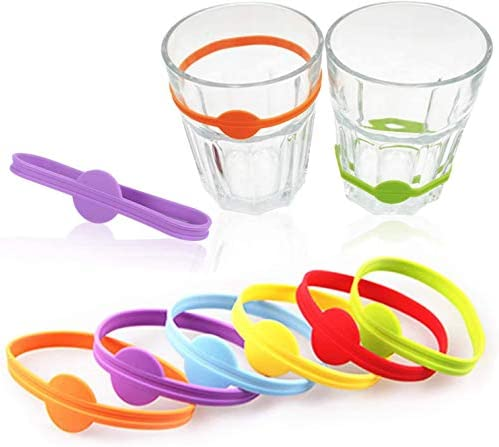 Glass Cup Wine Glass Bottle Strip Tag Marker 24 Pieces Drink Markers Cocktail Glass Party Solution for Guests