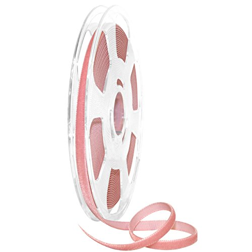 10 Dusty Rose - Morex Ribbon 01207/10-623 Nylvalour Velvet Ribbon, 5/16 x 11 yd, Dusty Rose