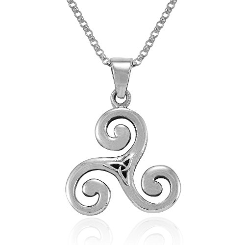 Mimi Sterling Silver Celtic Triple Spiral Triskele Triskelion Swirl Pendant Necklace, 18 inches