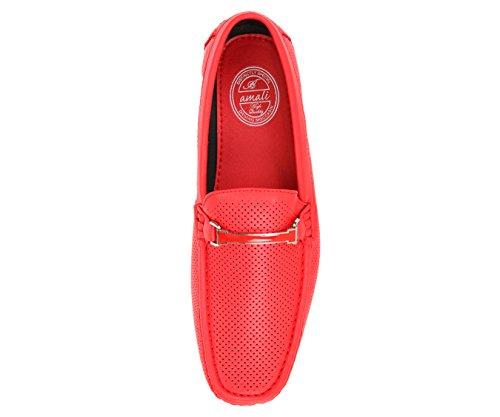 Amali Mens Mocassino Driving Perforato Liscio, Comfort Mocassino, Scarpa Driver Coloratissimo, Stile Cola Rosso