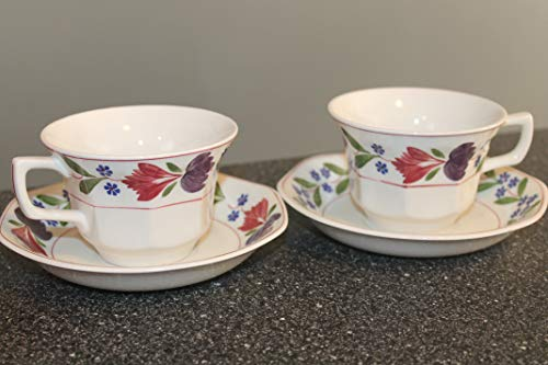 ADAMS CHINA Wedgwood Old Colonial Cup & Saucers SET/2 ~Real Ironstone England ~ RETIRED