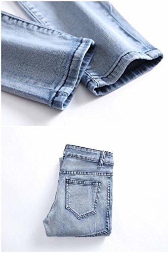 Kihatwin Big Boy Fashion Biker Moto Ripped Distressed Skinny Slim Fit Jeans Jeans Blue 12 by Kihatwin (Image #6)