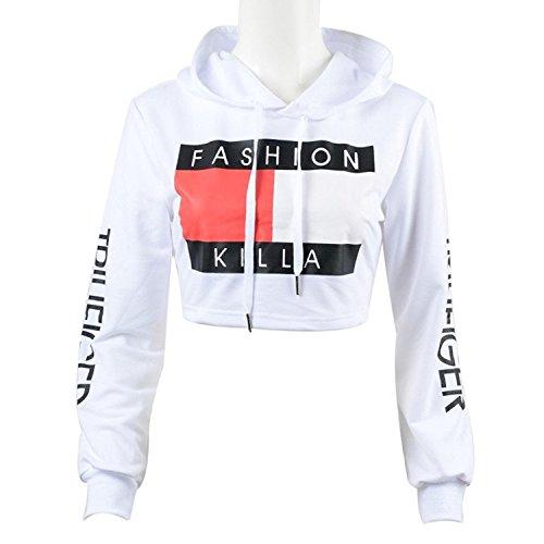 U-WARDROBE Casual Hoodie Literal Printing Sport Crop Top Sweatshirt Jumper Pullover Tops White M