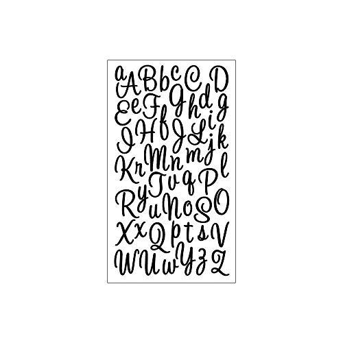 Sticker Scrapbooking Sticko Black Glitter Script Alphabet Letters Sweetheart