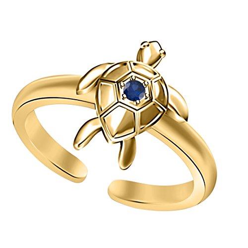 Blue Sapphire Yellow Gold Plated 925 sterling silver Hawaiian honu sea turtle plumeria flower open toe ring