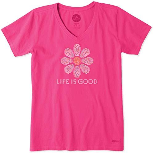 Life is Good Women's Cross Stitch Daisy Crusher Vee Fiesta Pink Large