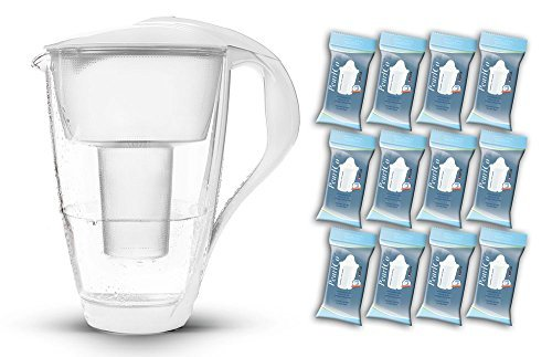 PearlCo Glas-Wasserfilter (weiß) - Jahres-Paket inkl. 12 classic Filterkartuschen (kompatibel mit Brita® classic) by PearlCo