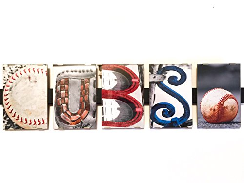 CUBS Photograph Word Letter Art Alphabet Creative Home Decor Office Gift Present 4 X 6 Professional Pictures Mounted on 23 Inch Hanging Glass Wooden Frame Real Objects as Words Baseball (Baseball Alphabet Letter)