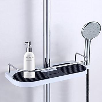 Cherryer Tablette Pour Barre De Douche Plateau De Rangement Support - Porte savon pour douche