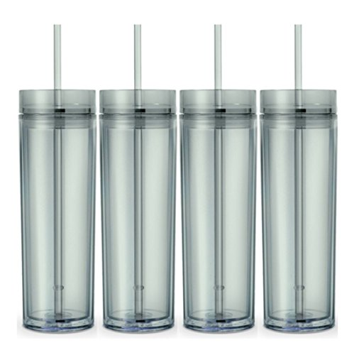 Set of 4 Tall Skinny Tumblers, Acrylic 16 Ounce Tumblers with Straw - Tumbler California 16 Ounce