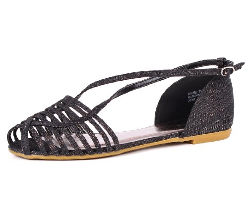 Fashion Bamboo Casual Open Toe Buckles Open Ankle Strap Womens Gladiator Summer Sandals Shoes New Without Box Black fPl1P4f
