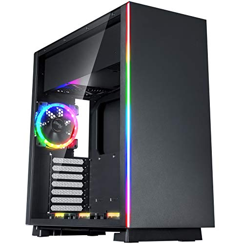 System Water External Cooling - ROSEWILL ATX Mid Tower Gaming PC Computer Case, Tempered Glass/Steel, RGB LED Fans Aura Sync/Mystic Light 5V Ready, 240mm Water Cooling Radiator Support, Great Cable Management/Airflow