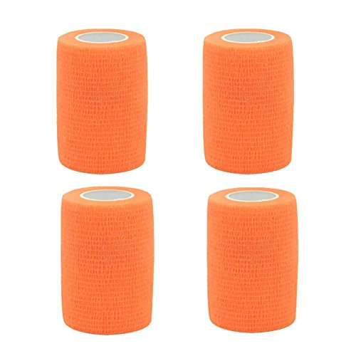 GouGou 4 Rolls Self-Adhesive Bandage First Aid Tape Non-woven Ventilate Flexible Strong Elastic Wrap for Ankle Waist Knee Elbow Athletic Sports Pets Medical Support 3 Inch X 5 Yds (Fluorescent orange) by GouGou