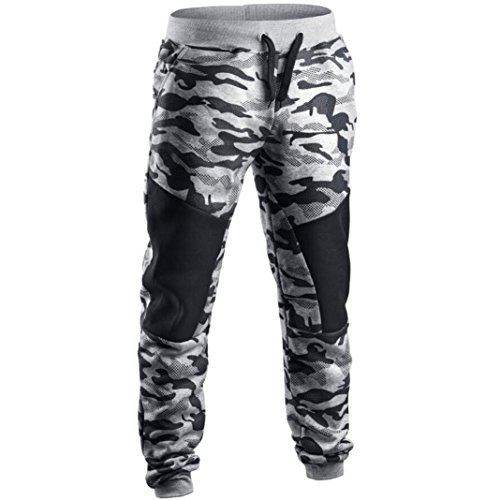 Men Pants Daoroka Men's Casual Camouflage Long Patchwork Jogger Gym Athletic Running Sports Trousers Sweatpants (L, Gray)