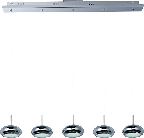 ET2 E22555-PC Dial 5-Light LED Linear Linear Pendant, Polished Chrome Finish, Glass, LED Bulb, 35W Max., Dry Safety Rated, 2900K Color Temp., Standard Dimmable, Linen Shade Material, 800 Rated Lumens