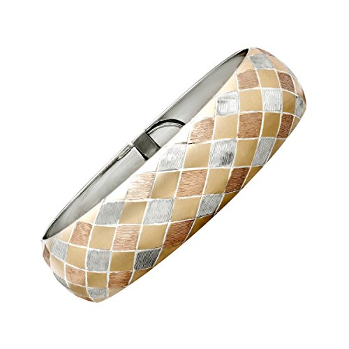 (Harlequin-Patterned Bangle Bracelet in 14K Two-Tone Gold & Sterling)